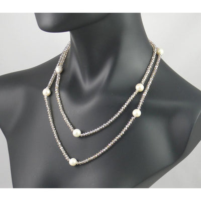 The Real Pearl Co. - Champagne Swarovski Crystal & Large White Pearls Necklace