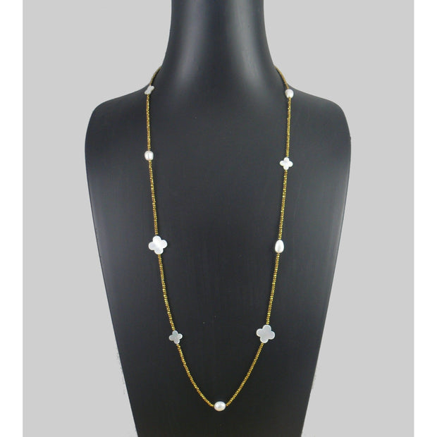 The Real Pearl Co. - Gold Plated Hematite beads, White Pearls & White Shell Flowers Necklace