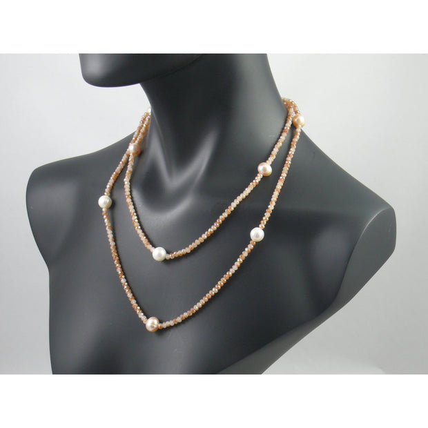 The Real Pearl Co. - Light Orange Swarovski Crystal Long Necklace