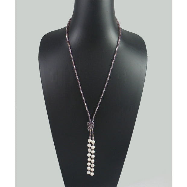The Real Pearl Co. - Purple Swarovski Crystal Long Necklace