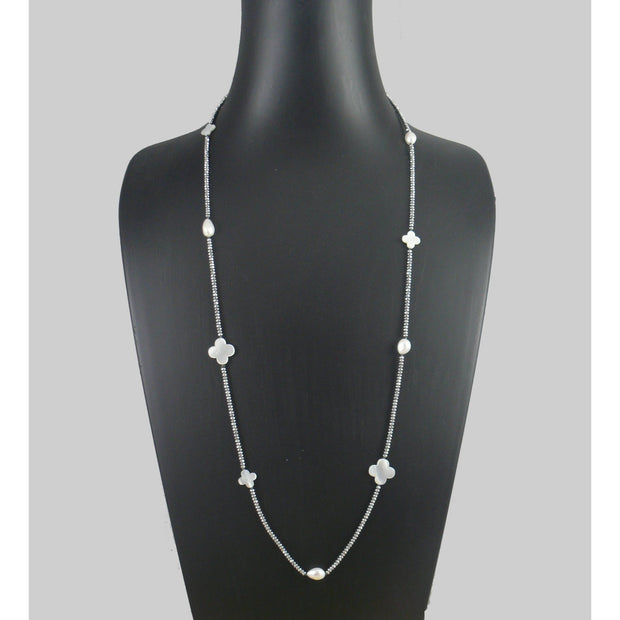 The Real Pearl Co. - Silver plated Hematite beads Long Necklace