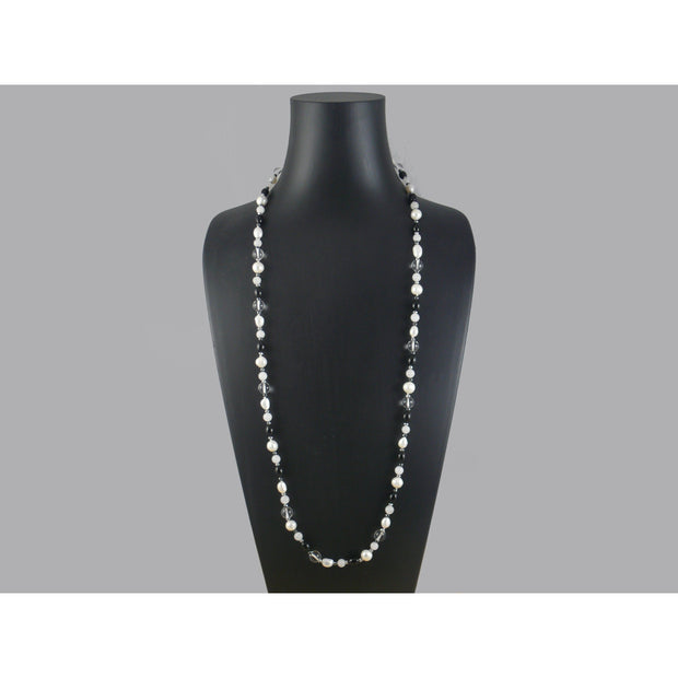 The Real Pearl Co. - White Round & Baroque Pearls, Onyx, White Agate, Rock Crystal & Hematite Necklace