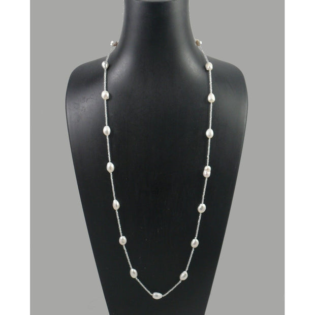 The Real Pearl Co. - White Crystal & Baroque Pearl Necklace