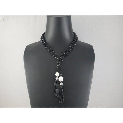 The Real Pearl Co. - Onyx Bead Lariat Necklace with 2 Large White Baroque Pearls
