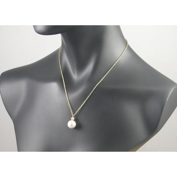 The Real Pearl Co. - Short Gold Plated White Pearl & Coral Bead Necklace