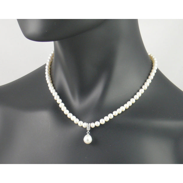 The Real Pearl Co. - Short White Pearl Necklace with a Diamante & White Pearl Pendant