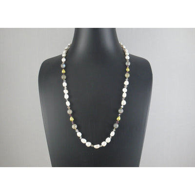The Real Pearl Co. - White Baroque Pearls, Labradorite, Garnet & Brass Beads Necklace