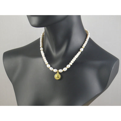 The Real Pearl Co. - White Pearl & Central Brass Lotus Flower Necklace