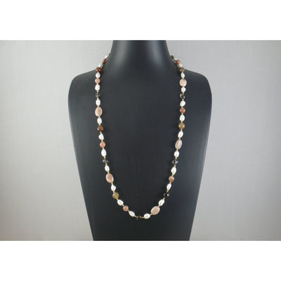 The Real Pearl Co. - White Baroque Pearls, Agate, Sunstone & Brass Beads Necklace