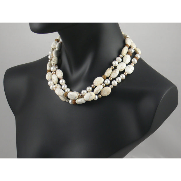 The Real Pearl Co. - Short Necklace of White & Gold Pearl, White Turquoise & Brown Jasper Bead