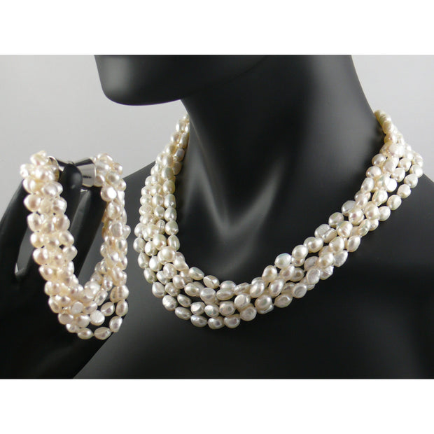 The Real Pearl Co. - Five Strand Pearl Necklace