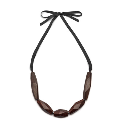 The Branch - Abstract Black Wood Bead Necklace