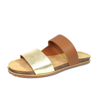 Lunar Shoes - Prague Flat Leather Slider Style Sandal (2 colours)