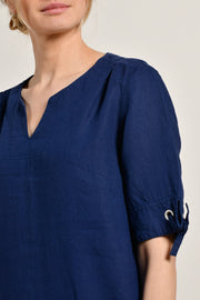 Mat De Misaine - Rizana Linen dress with Henley-style neck and sleeve ties (2 colours)