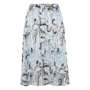 InWear - Reema Long Skirt with Elasticated Waist in Blue Marbling