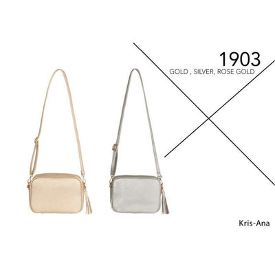 Kris-Ana Small Rectangular Cross Body Bag in 3 Metallic Colours