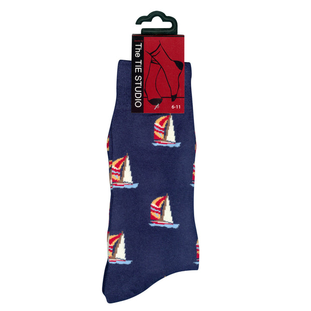 The Tie Studio - Men's Socks - Spinnaker Boats on Navy