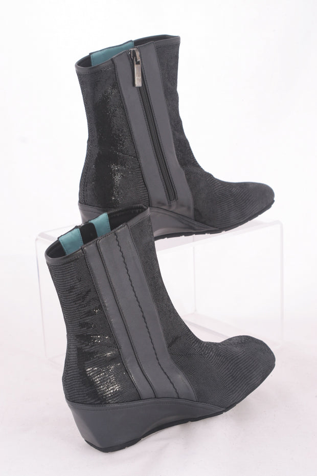 "Thierry Rabotin – Travis Low Wedge Black Leather Ankle Boot in ""Tejus"""
