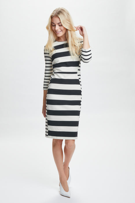 InWear - Werone 3/4 Sleeve Striped Fitted Dress