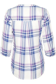 Part Two – Chichi Tunic Blouse in Blue & Lilac Check