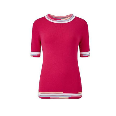 Emreco - Longcot Short Sleeve Crew Neck Knitted Top