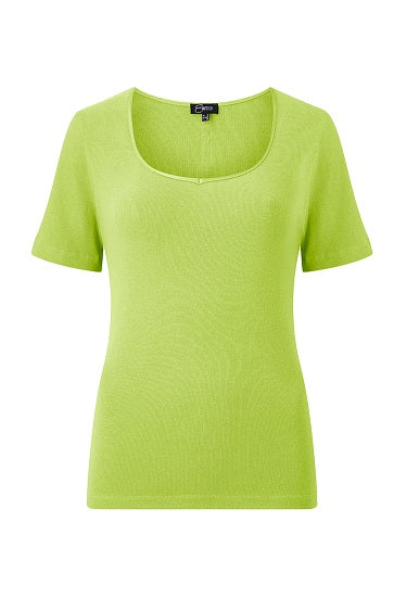Emreco - Lydia Sweatheart neckline short sleeve T shirt with Satin Trim & button detailing