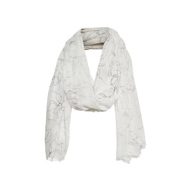 Part Two - Brixton Long Cream Scarf with Outline Flower Print