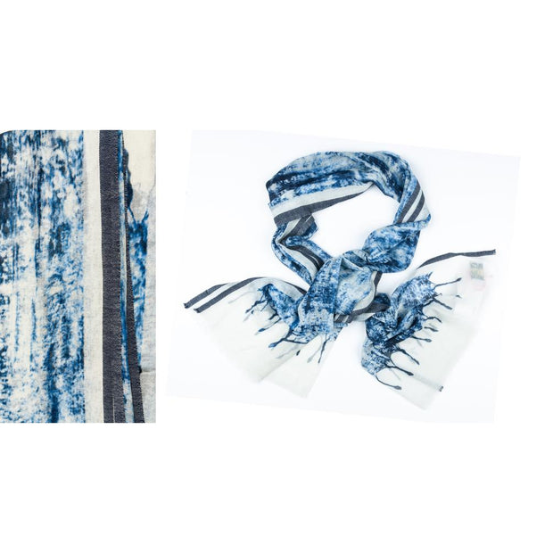 Kapre - Merino Wool & Silk Scarf in Cream & Blue Tie Dye - KAP002-02