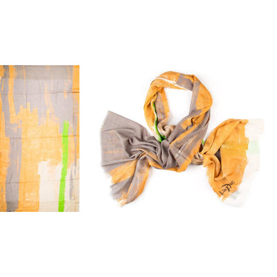 Kapre - Cotton & Modal Scarf in Beige, Sand & Splash of Green - KAP315-31