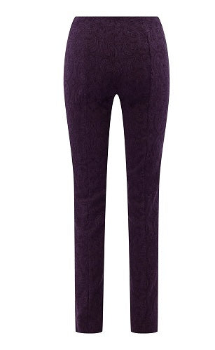 Robell – Marie - Straight Leg Full Length Trouser in Cotton Mix Jacquard Stretch (Various Colours)