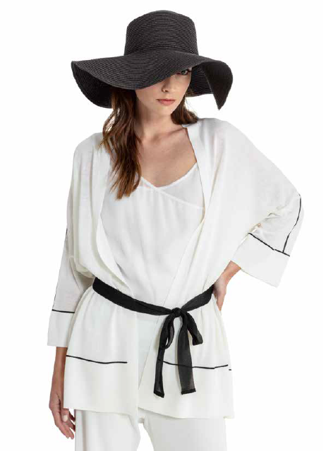 Maria Bellentani - Off White Open Cardigan with Black Sash Belt