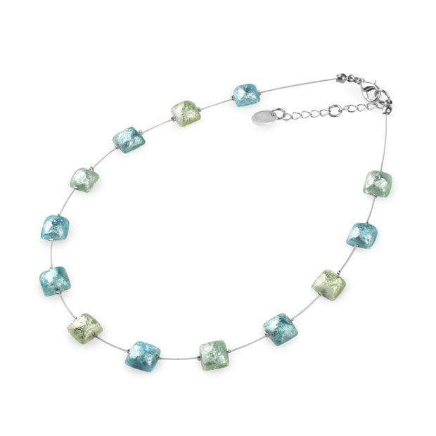 Watch This Space - Cabouchon Squares Shiny Necklace (2 colours)