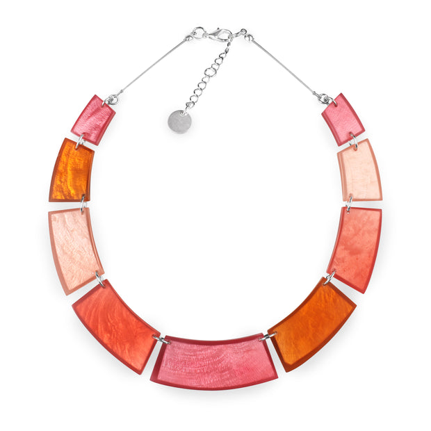 Watch This Space - Short Flat Collar Necklace in Matt Coral Shell