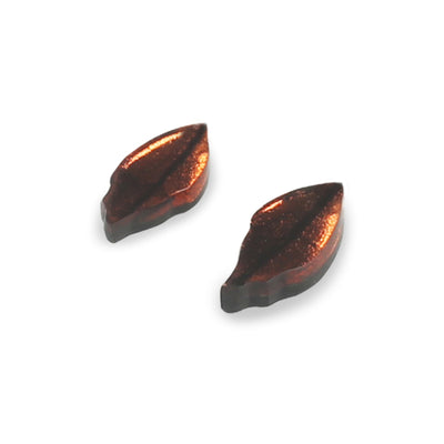 Watch This Space - Skeletal Leaf Shiny Stud Earrings (2 colours)