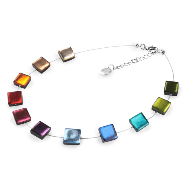 Watch This Space - Square Buttons Shiny Necklace (2 colours)