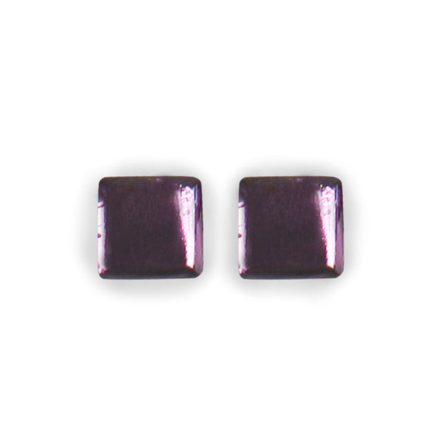 Watch This Space - Square Buttons Shiny Stud Earrings (2 colours)