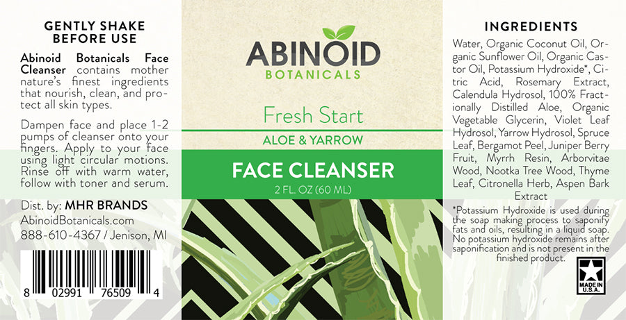 Abinoid Botanicals - Face Cleanser 2oz – Aloe & Yarrow Abinoid Botanicals Skincare & Muscle Rubs Club Releaf Acne, CBD, Cleanser, Face, Hemp, Oil, Skincare