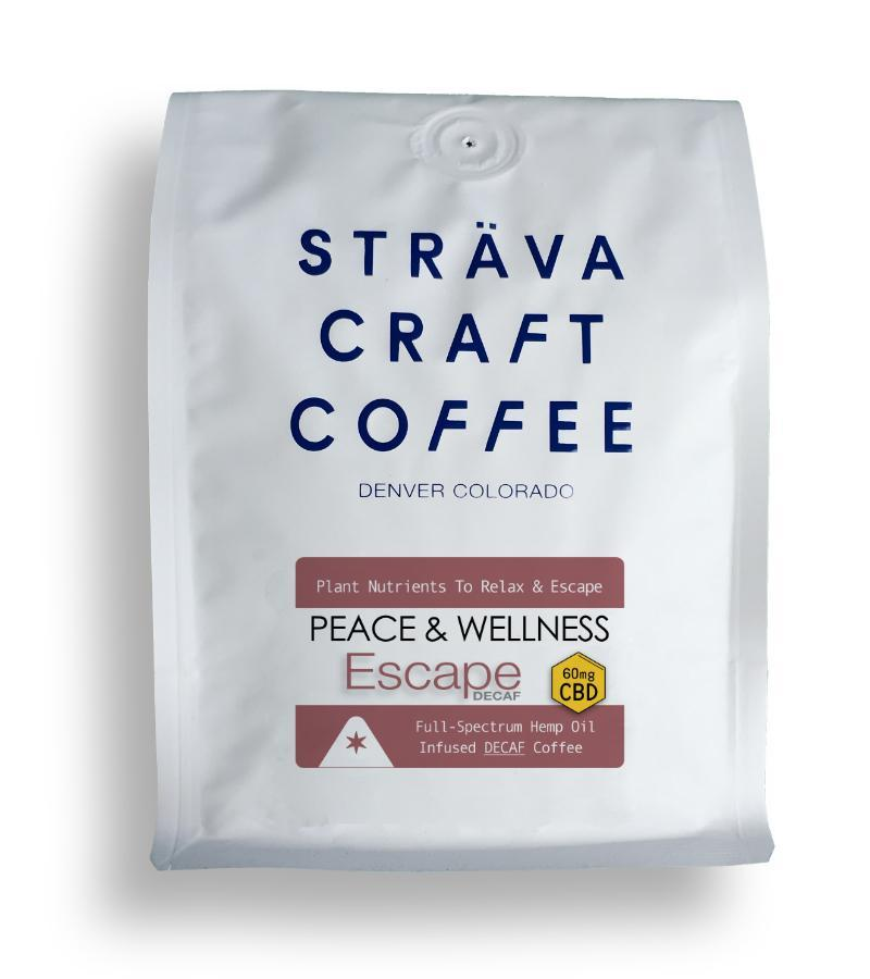 Strava Craft Coffee - ESCAPE - HEMP OIL INFUSED DECAF COFFEE (60MG CBD PER 12OZ BAG) Strava Craft Coffee Drinks Club Releaf CBD, Coffee, Drink, Hemp