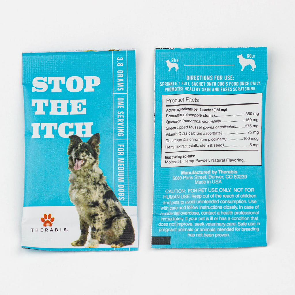 Therabis - Stop the Itch (Medium Dogs: 21-59lbs) 5-30Pack Therabis Pet Supplements Club Releaf CBD, Dog, Dogs, Itch, Oil, Pet