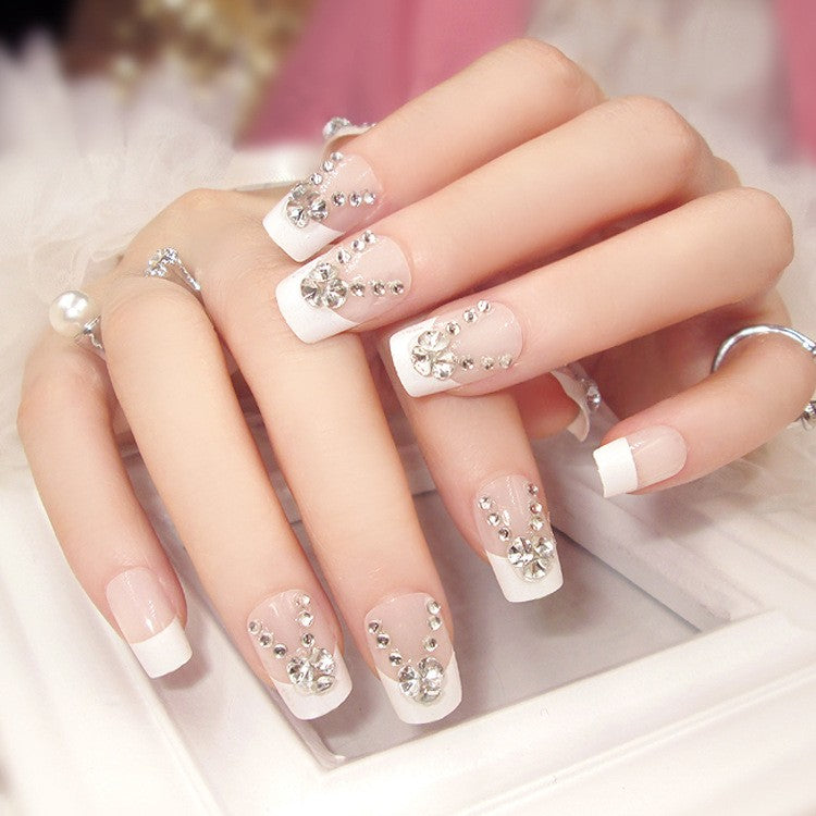 24PC Decorated Crystal Instant French Manicure Artificial Nails ...