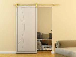 Geneva SAtin Brass Barn Door Hardware for Wood Doors