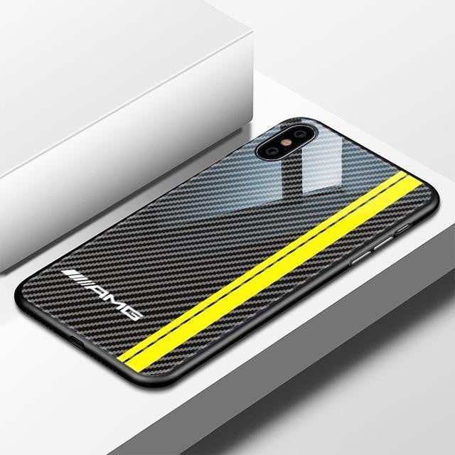 big sale 191a2 6f704 Luxury Motorsport AMG Carbon Fiber Phone Case For iphone X 6 S 6S 7 8  RACING SPORT RS Tempered Glass Racing Car BMW Cover Coque
