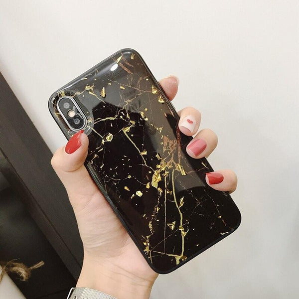 Glitter case for iPhone X XS Max XR Soft TPU cover with golden foil...