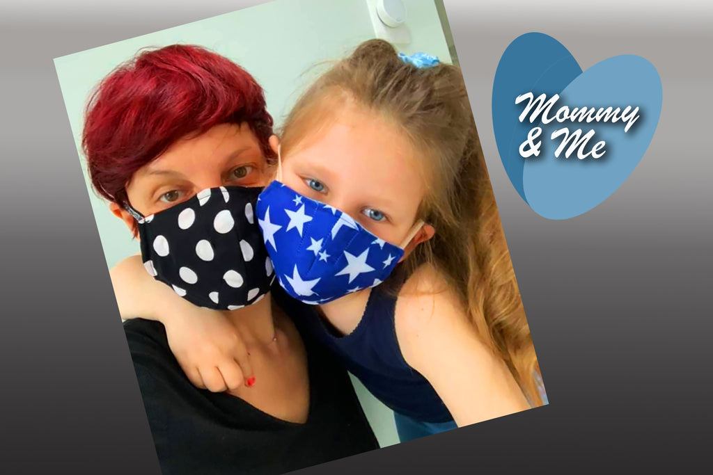 FABRIC MASKS WITH FILTER POCKET & FILTER ~ 5 SIZES: BABY ~ ADULT