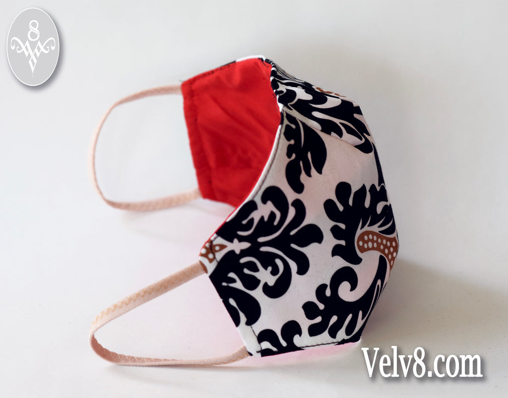 CHIC & STYLISH PRINT MASK ~ FILTER POCKET W/FILTER ~ FEMININE & COMFORTABLE ~ 5 SIZES: BABY ~ ADULT