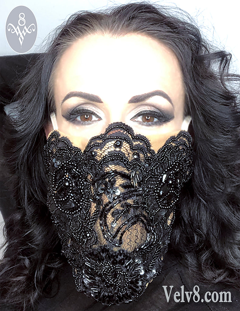 DESIGNER BEADED LACE MASK ~ BUILT IN UNDERMASK ~ FILTER POCKET ~ NOSE SUPPORT ~ CPAP FILTER ~  MULTIPLE SIZES