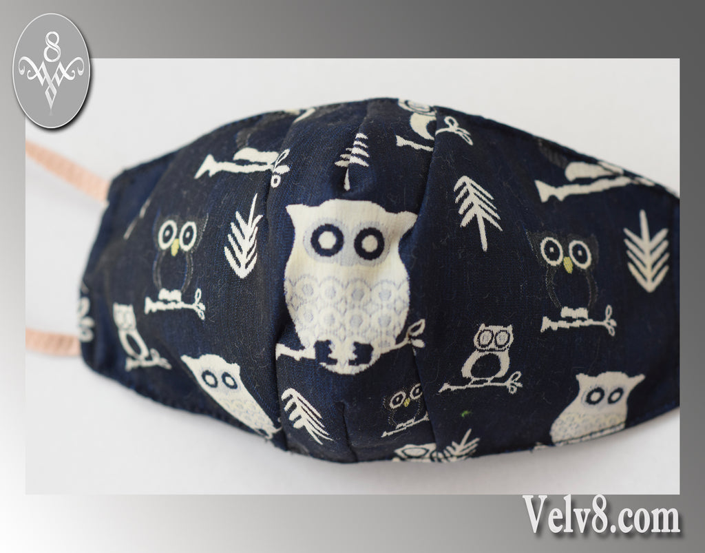 QUIET OWL FABRIC MASK ~ FILTER POCKET W/FILTER ~WISE & SOPHISTICATED ~ 5 SIZES: BABY ~ ADULT