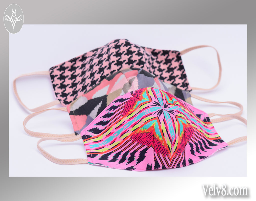PINK STARBURST FABRIC MASK ~ FILTER POCKET W/FILTER ~ BRIGHT & LIGHTWEIGHT ~ 5 SIZES: BABY ~ ADULT