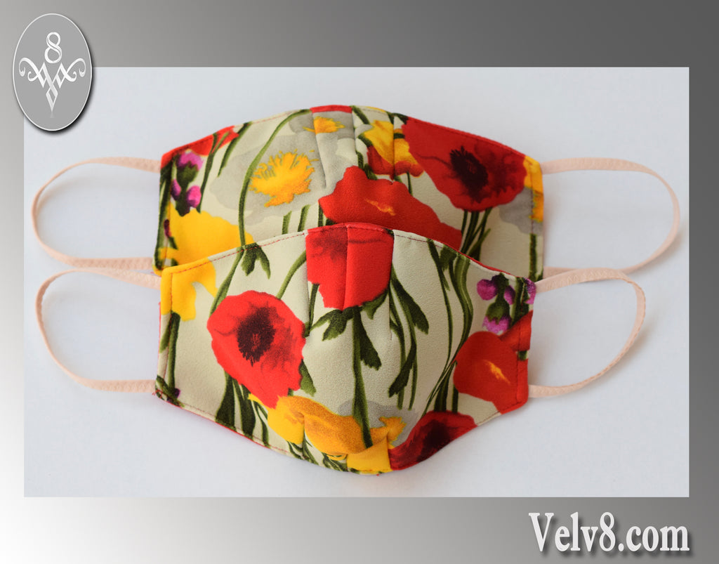 SUMMER POPPIES FABRIC MASK ~ FILTER POCKET W/FILTER ~ FEMININE & LIGHT ~ 5 SIZES: BABY ~ ADULT