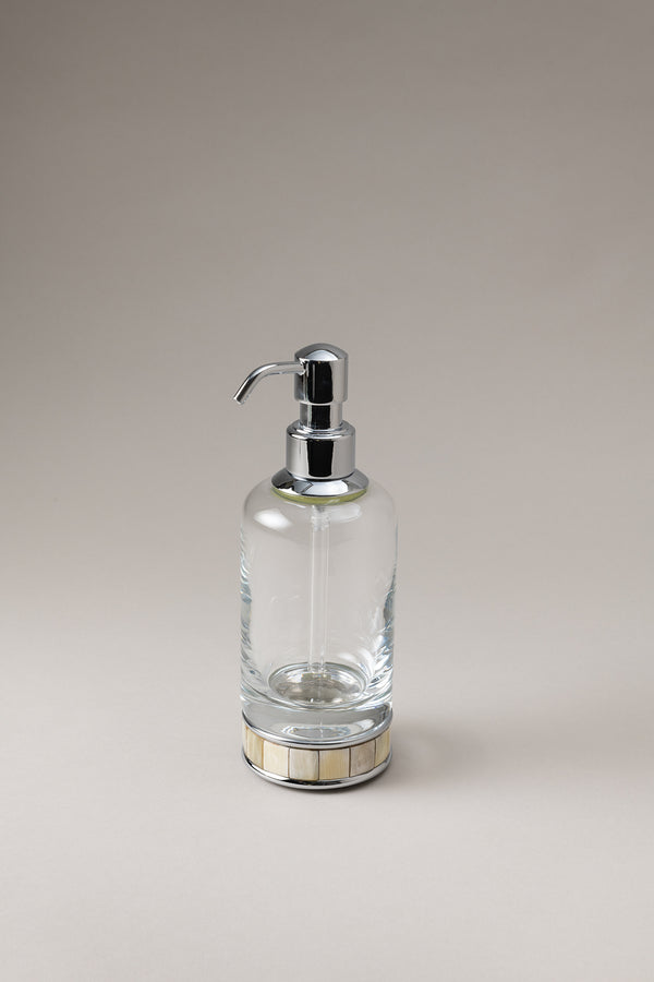 Glass soap dispenser with natural material base